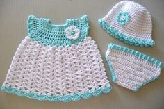 baby girl set -free crochet pattern would be cute doll clothes.