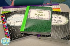 Math Journals - contact paper over label, duct tape the side, and ribbon to hold the next page Organization And Management, Teacher Organization, Classroom Management, Organizing, Organized Teacher, Class Management, Science Notebooks, Math Notebooks, Interactive Notebooks