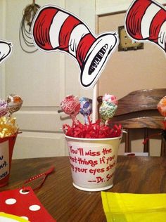Cat in the Hat Centerpieces | Dr. Seuss Cat in the Hat bday party centerpiece | Enrichment!