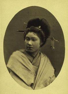 Portrait of a courtesan. Meiji Period. Japan.