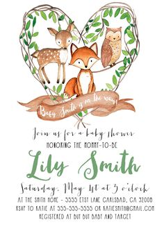 Free Customizable Forest Animal Baby Shower Invite Printables We