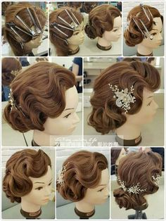 Trendy wedding hairstyles updo finger waves ideas - All For Wedding Hair Style Retro Hairstyles, Elegant Hairstyles, Flapper Hairstyles, Wedding Hair And Makeup, Hair Makeup, Wedding Updo, 1920s Wedding Hair, Vintage Wedding Hairstyles, Retro Curls
