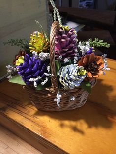 Basket of Pinecone flowers by Cat