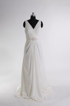 V-neck a-line satin bridal gown $195.00