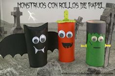 Halloween: monstruos con rollos de papel /Toilet paper roll monsters