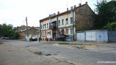 Typical Moldavanka style street and houses in Odessa Ukraine.