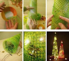 This is an another mesh Christmas tree idea. Great Christmas decorations ideally make a big impact and are inexpensive! This cute lighted Christmas tree Mesh Christmas Tree, Creative Christmas Trees, Noel Christmas, Handmade Christmas, Christmas Tree Decorations, Christmas Ornaments, Christmas Lights, Room Decorations, Homemade Decorations