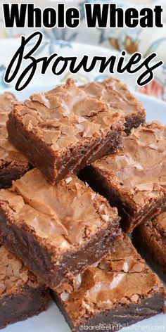 Dark Chocolate Whole Wheat Brownies | Barefeet in the Kitchen Caramel Brownies, Peanut Butter Brownies, Chocolate Brownies, Chocolate Desserts, Baking Chocolate, Chocolate Chocolate, Chocolate Truffles, One Bowl Brownies, New Dessert Recipe