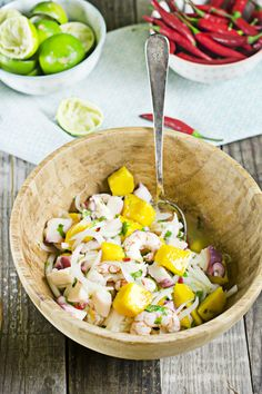 receta de ceviche de gambas, pulpo y mango