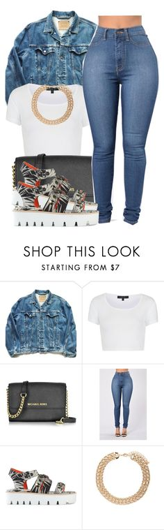 """""""Sans titre #401"""" by lesliekabengele ❤ liked on Polyvore featuring Levi's, Topshop, Michael Kors, MSGM and Forever 21"""