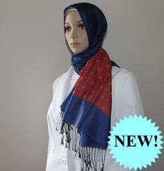 Ipekce Malibu Shawl - Blue / Red Turkish Hijab Sal