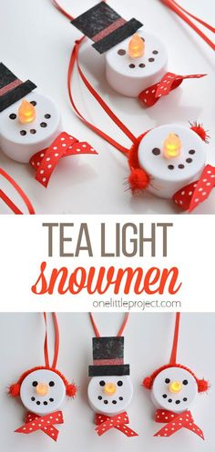 These tea light snowman ornaments are really easy to make and they look ADORABLE! You can buy most of the materials from the dollar store, so it's a great inexpensive craft project. Switch up the colours to add even more personality to your snowman family! Preschool Winter, Winter Crafts For Kids, Easy Crafts For Kids, Craft Activities For Kids, Easy Diy Crafts, Pre Christmas, Diy Christmas Gifts, Holiday Crafts, Holiday Ideas