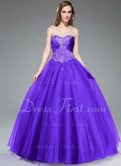 Ball-Gown Sweetheart Floor-Length Satin Tulle Prom Dress With Ruffle Beading Sequins (018047243) - DressFirst