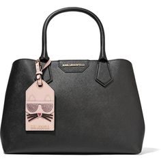 Karl Lagerfeld Lady Shopper textured-leather tote ($250) ❤ liked on Polyvore featuring bags, handbags, tote bags, black, cat purse, glitter tote bags, glitter tote, structured tote bag and structured handbags