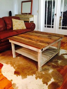 reclaimed barnwood coffee table. made in montana, out of reclaimed