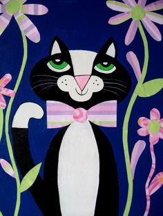 This tuxedo cat painting was created with acrylic paint and specialty paper. It is an original painting, NOT a print. The quality canvas is 11 inches x 14 inches. The sides are painted, so it may be hung as is or you may have it framed.
