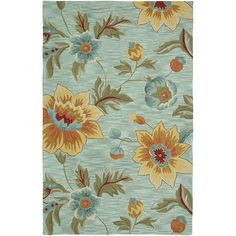 Hand-Hooked Blue Floral Area Rug (8' x 10') | Overstock.com $390, free shipping