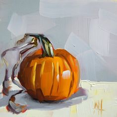 Pumpkin with Vine no. 3 original still life oil painting by Moulton 6 x 6 inches on panel  prattcreekart