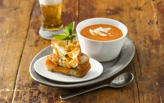 Creamy Tomato Soup with Grilled Cheddar Basil Sandwiches
