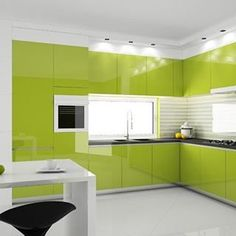 I think this is the closest to the 'perfect kitchen ' definition in my head!  Absolutely perfectly neat!  #kitchen #design #kitchenware #dining #greenoctober #bright #designer #highgloss #gloss #glam #greenkitchen #perfectplace #home #house #interiors  Yummery - best recipes. Follow Us! #kitchentools #kitchen