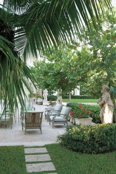 Lyford Cay Vacation Home - Villa Contenta - Veranda Outdoor Areas, Outdoor Rooms, Outdoor Living, Outdoor Decor, Outdoor Furniture, Teak Furniture, Outdoor Kitchens, Outdoor Lounge, Landscape Design