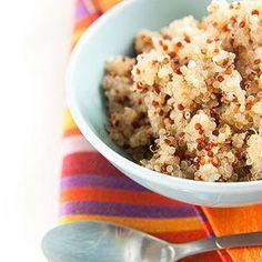 Breakfast quinoa:  shredded coconut, pecans,  banana, and cinnamon plus a little vanilla. Maybe a splash of almond or coconut milk.