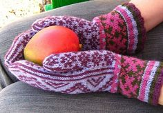 The colorwork patterns on these fun-to-knit mittens resemble cut-outs (Tijeras means scissors in Spanish). Four colors of organic yarn are used: Plum, Mulberry, Evergreen, and Lilac. The mittens are knit from cuff to tip and feature a peasant thumb and a ribbed cuff. Because the yarn used is a thick fingering weight and it is so elastic, consider using a sport weight yarn to make gauge if substituting yarns. Separate charts are given for each hand to ensure the row joins are on the outside…