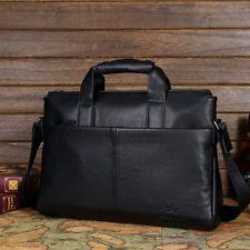 Genuine Leather Mens Handbag Business Briefcase Laptop Work Shoulder Bag Black