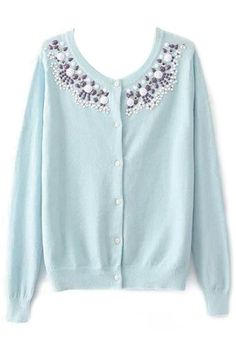 Nice Candy Color Solid Faux Diamond Cardigans