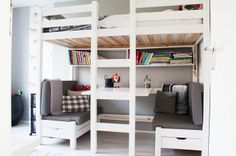 Loft bed with a booth table underneath, for activities!