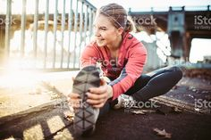 Athlete Stretching at Portland Waterfront royalty-free stock photo