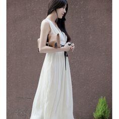 Chiffon Waist-Hugging Deep V Maxi Dress