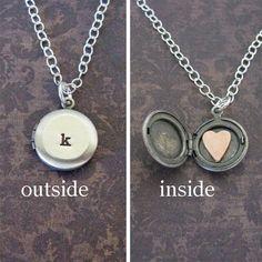 mini monogram locket necklace with heart inside by juliethefish designs