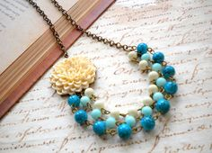 Bib Necklace Turquoise Necklace Flower Necklace Bridesmaid Necklace Three Strand Statement Necklace Statement Jewelry