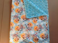 "Disney Frozen Olaf ""I love heat"" with blue rose small blanket for travel or in the stroller."