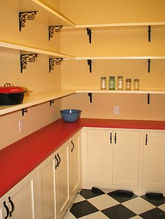 Walk in pantry - I have always wanted black and white floors in the kitchen!