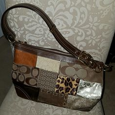 Coach Patchwork Shoulder Bag*PRICE DROP* Authentic; large brown bag with multi-colored patchwork; like brand new; no marks or stains on bag Coach Bags Shoulder Bags