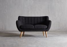 The MIMI Two Seater Sofa - in Slate Grey Weave - Swoon Editions - swooneditions.com