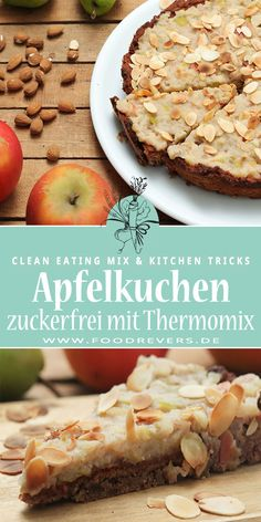 Enjoy Thermomix apple pie with pear, healthy, sugar-free and gluten-free. Clean eating and healthy eating are easy. Delicious and quickly bake cakes without sugar. Recipe with Thermomix and Bake with almonds and agar agar. Best Diet Foods, Best Diets, Healthy Sugar, Healthy Recipes, Healthy Food, Healthy Breakfast Breads, No Bake Cake, A Food, Food Processor Recipes