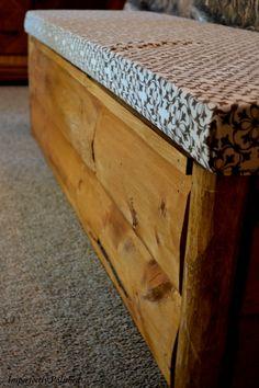 DIY Storage Bench at foot of bed