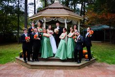 Fall wedding green bridal party. Promises to Keep, Derry, NH. #wedding #fallwedding #octoberwedding #bridalparty #green #promisestokeep