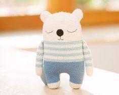 Amigurumi pattern, bear crochet pattern PDF, Milo, the sleepy bear Crochet Amigurumi, Amigurumi Doll, Amigurumi Patterns, Crochet Dolls, Crochet Animal Patterns, Crochet Animals, Cute Crochet, Crochet Baby, Crazy Patterns