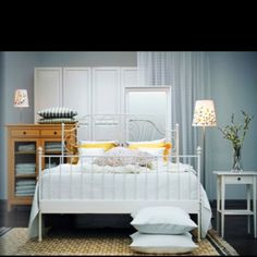 White wrought iron bed. Summer project to refurbish the one in our spare bedroom!!