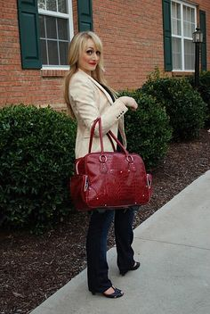 love this blazer and RED bag.