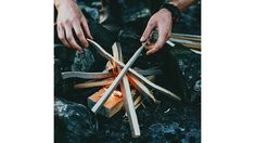 This guide can help you start a fire with nothing but your trusty knife and materials found in abundance in nature. Cabin Activities, Kitchen Knives, Abundance, Fire