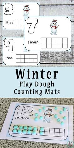 FREE Winter Playdough Mats are such a fun way to help preschool prek, and kindergarten to practice counting