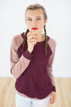 Kuscheliger Pullover mit lockerem Schnitt in Altrosa und Himbeer / comfy hoodie for girls in berry colours, autumn style made by Shoko via DaWanda.com