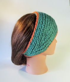 Fall Knit Earwarmer, Green Orange and Black Wide Knit Headband, Ti Stephani New Fall & Winter Knits, Knit Hair Accessories. by TiStephani on Etsy