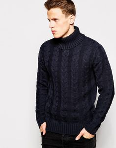 French Connection Cable Knit Roll Neck Jumper