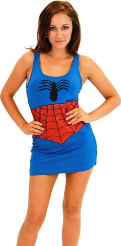 Spider Girl Adult Womens TANK DRESS Superhero Everyday Wear Spider-Man Licensed